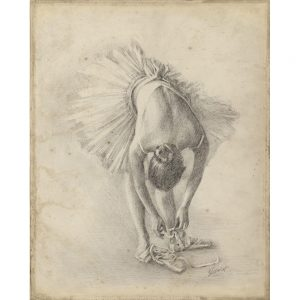 SG1552 antique ballerina study I sketch pencil still life dancer tutu