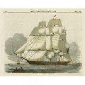 SG1557 antique clipper ship II boat voyage illustration vintage book