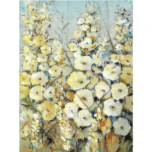 SG1561 cluster of hollyhock I floral flora yellow blue painting paint colourful botanical