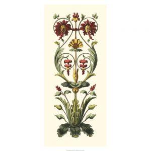 SG1566 elegant baroque panel I floral pattern red green gold warm vintage art deco nouveau illustration botanical