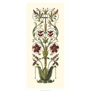 SG1567 elegant baroque panel II floral pattern red green gold warm vintage art deco nouveau illustration botanical
