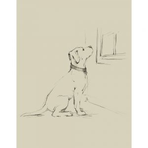 SG1580 waiting for master III dog sketch drawing study lineart