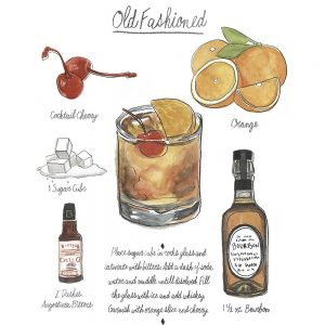 SG1611 classic cocktail old fashioned alcohol drink bar restaurant poster recipe