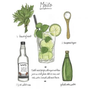 SG1612 classic cocktail mojito alcohol drink bar restaurant poster recipe