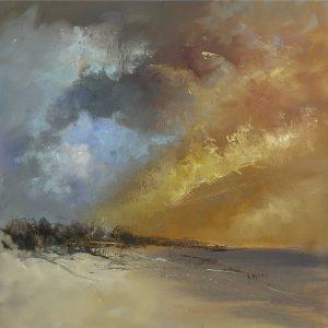 SG1614 sun blaze abstract sea ocean beach seaside landscape paint gold blue oil paint shore