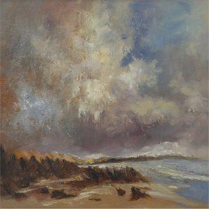 SG1615 rocky shore abstract sea ocean beach seaside landscape paint gold blue oil paint