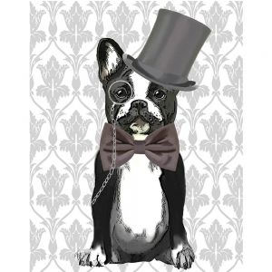 SG1621 monsieur bulldog dogs whimsical top hat bowtie gentleman painting illustration monocle