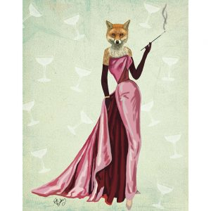 SG1625 fox game pink classy quirky madona illustration