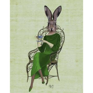 SG1626 rabbit bunny hare tea green dress quirky illustration