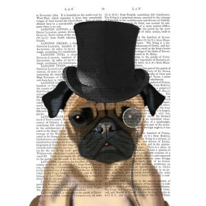 SG1632 pug formal hound dog top hat monocle watercolour novel type writing typography funny whimsical