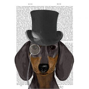 SG1633 dachshund formal hound dog top hat monocle watercolour novel type writing typography funny whimsical