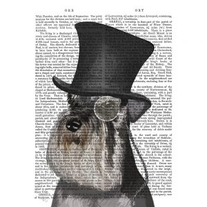SG1634 schnauzer formal hound dog top hat monocle watercolour novel type writting typography quirky funny whimsical