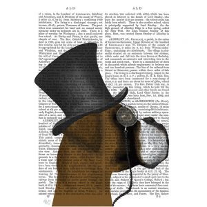 SG1635 boxer formal hound and hat schnauzer formal hound dog top hat monocle watercolour novel type writing typography funny whimsical