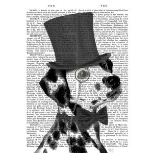 SG1643 dalmatian formal hound dog top hat monocle watercolour novel type writing typography quirky funny whimsical