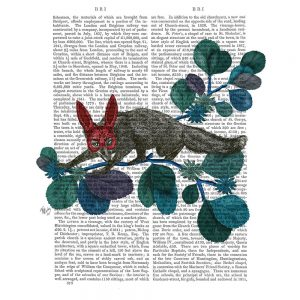 SG1648 fox red nature animal wild flora floral botanical writing novel book typography butterflies mask