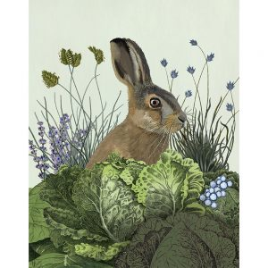 SG1656 hare rabbit bunny birds pink vines floral flowers green nature wild animal field cabbage patch