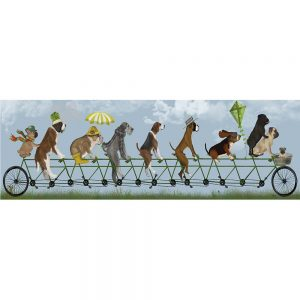 SG1659 mutley crew on tandem dogs whimsical quirky painted illustration bike bicycle