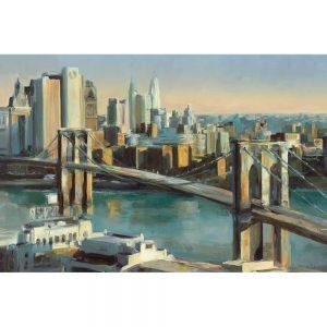 SG1673 global brooklyn bridge ocean river pond water city america skyline cityscape landscape painting