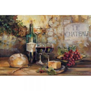 SG1675 wine cheese red grape alcohol french france bread paint painting
