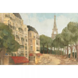 SG1686 town city paris france europe cafe street eiffel tower paint painting