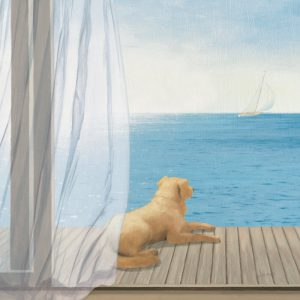 SG1690 dogs golden sea seacape holiday ocean water sail boat labrador paint painting