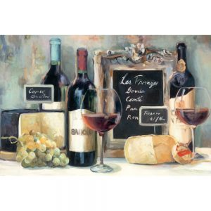 SG1691 wine cheese glass grapes bar resteraunt paint painting