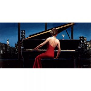 SG1692 piano music classic figure lady woman city paint painting skyline red dress