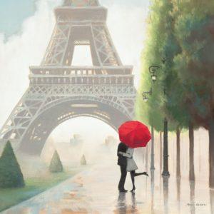 SG1693 paris france city europe eiffel tower couple man woman street umberella romanic painting