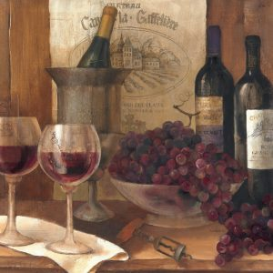 SG1696 wine bar restraunt bottle glass grape grapes champagne french france painting