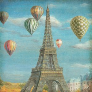 SG1697 france french paris city hot air balloon balloons scene paint painting