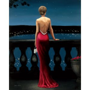SG1698 woman women lady girl red pink dress classic formal blacony paint painting night sky female