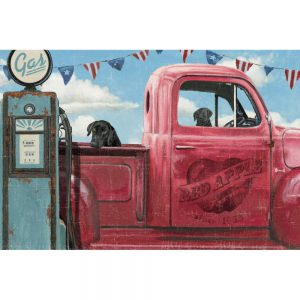 SG1714 labrador dog dogs truck car fuel trip road painting