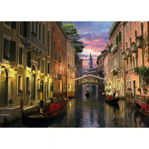 SG1728 venice dusk canal boat rowing city buildings bridge