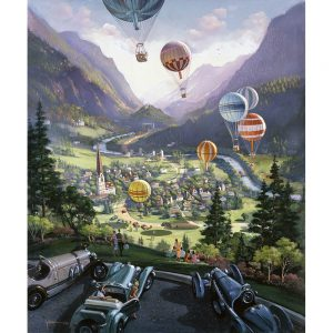 SG1729 hot air balloons town city landscape cars field people figures mountains river trees