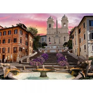 SG1731 piazza di spagna fountain city town buildings architecture flowers landscape