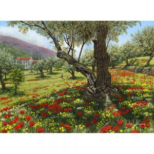 SG1733 andalucian olive grove trees medow field nature landscapes mountain painting
