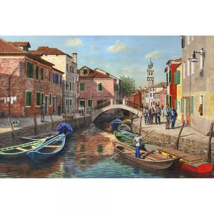 SG1734 burano canal venice italy boats water river bridge buildings sunny painting landscape city