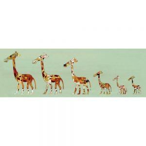 SG1753 giraffe family green patchwork flying nursery kids bedroom