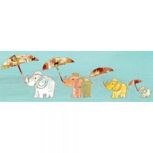 SG1781 elephants umbrellas patchwork flying fly nursery kids bedroom