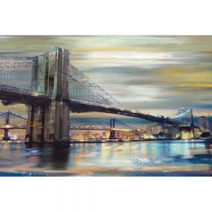 SG1792 brooklyn bridge sea river blue abstract fineart yellow grey water