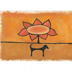 SG001 dogs sunflower flower floral orange yellow horizon contemporary