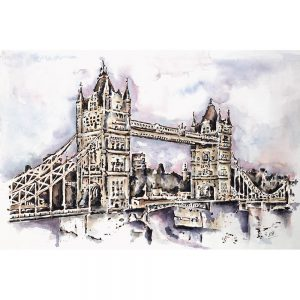 SG067A london bridge tower illustration ink watercolour paint painting