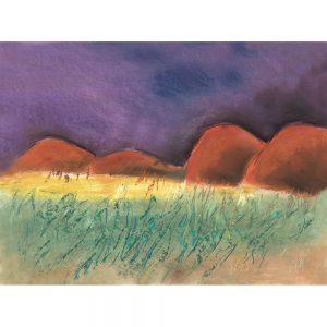 SG174 chalk illustration landscapes mountains horizon
