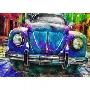 SG1836 vw volkswagen beetle bug car cars vibrant sketch illustration abstract watercolour painting colour splash