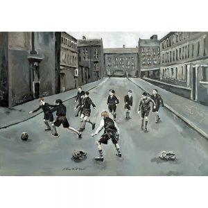 SG186 children kids playing football soccer sports street uniform school