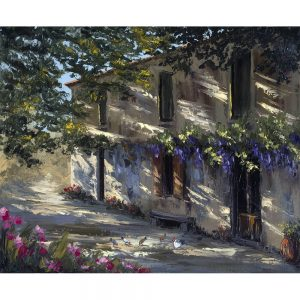 SG1863 buildings architecture trees flowers floral painting
