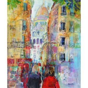 SG1900 france paris buildings busy city colourful painting people places scene street vibrant