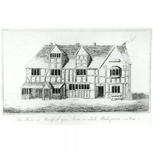 SG1920 half timbered print shakespear birthplace house illustration drawing statford england english