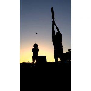 SG2050 beach cricket sunset silhouette