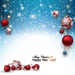 SG2057 christmas background with red christmas balls snow xmas design